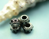 5 large hole beads - rhinestones - black - antique silver beads - large hole beads -  finding for jewelry Box 332 C