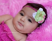 sweet green and pink headband, newborn headband, photo prop, girls headband