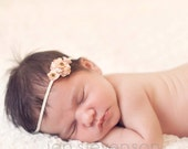 dainty flower headband, tiny headband, newborn headband, photo prop, baby headband, peach flower headband