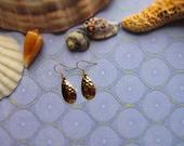 Fishing Lure Dangle Earrings Gold Colored