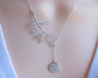 Bird Necklace STERLING SILVER Lariat Style Branch Leaves