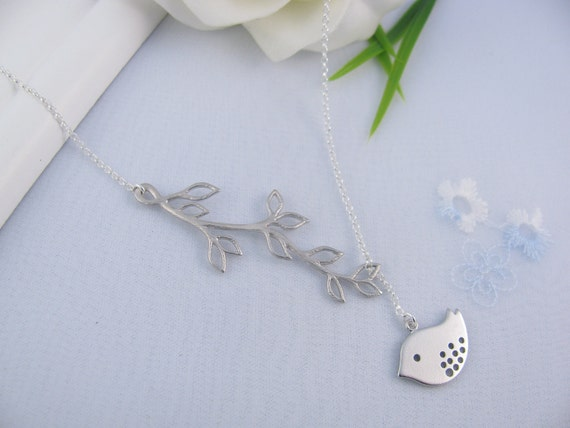 Bird Necklace, Sterling Silver Chain Lariat Bird necklace,  Silver Bird Necklace, Birds Jewellery, Silver Lariat Necklace