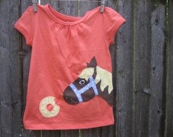 The Pony Stole The Donut Kids T Shirt Farm Animals Horses
