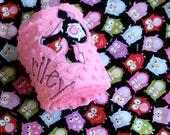 Personalized Minky Baby Blanket - Owls in Black