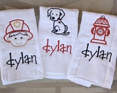 Personalized Boutique Style Burp Cloths - Firefighter
