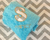 Personalized Minky or Chenille Blanket - Chevron