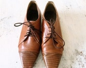 Vintage Brown Leather ankle boots, size 35