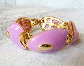 Purple and Gold Vintage Chunky Bracelet