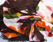 Large Floral Satin Shawl With Brown Fringe
