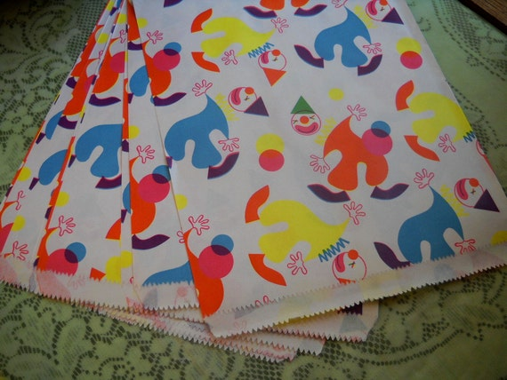 Vintage Acrobatic Clown Paper Bags, One Dozen