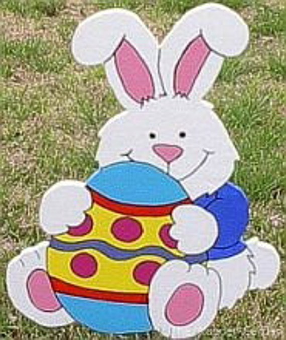 White bunny has his very own egg