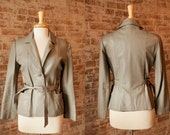 Vintage Late 1950's, Early 1960's Grey Leather Jacket