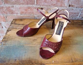 Vintage 1970s Burgundy Bandolino Sandals - Oxblood Color - Heels - Ankle Strap - Open Toe