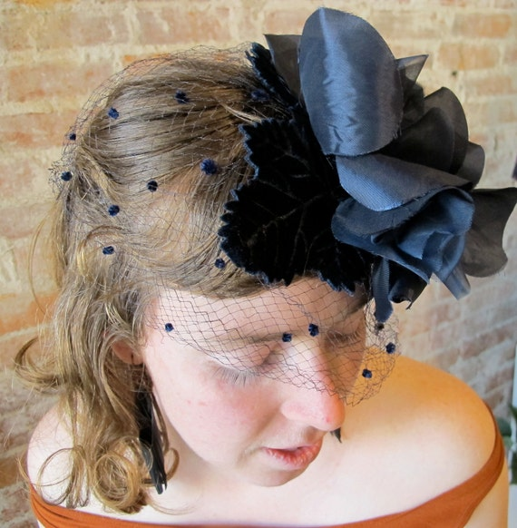 Vintage Navy Flower Hat with Polka Dot Netting