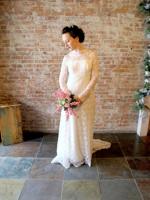 On Reserve For Chava- Vintage 1960s Lace Wedding Dress