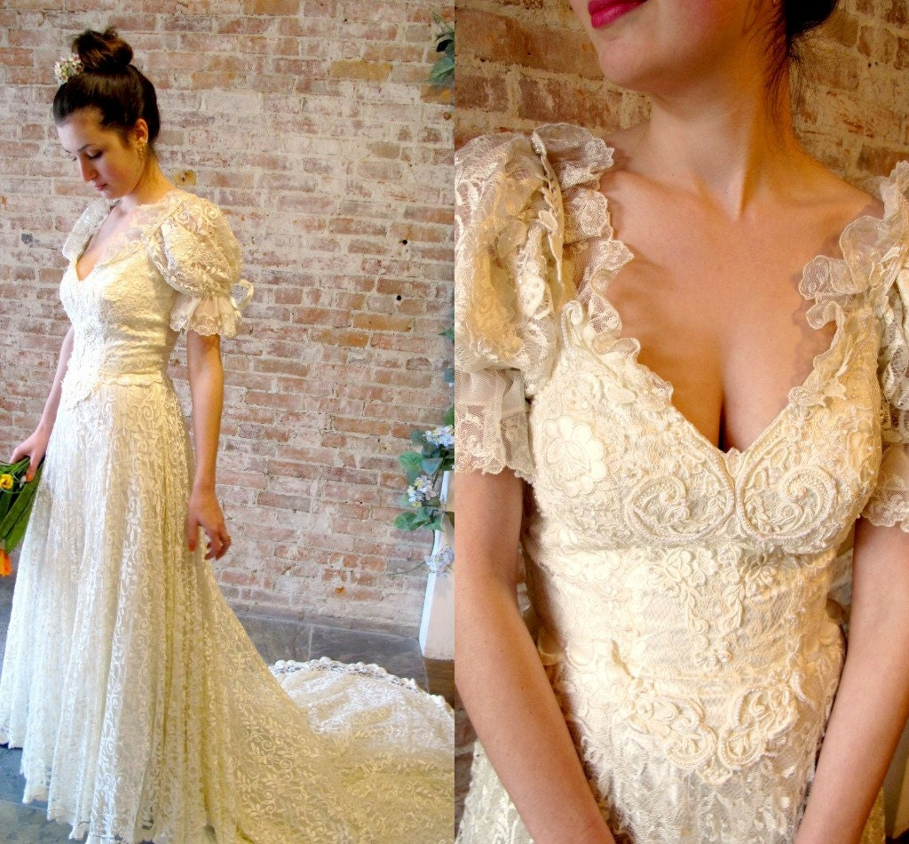 Vintage 1960 39 s lace wedding dress by stateandmainvintage for 1960 style wedding dresses