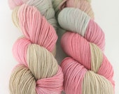 Hand dyed SW Merino fingering yarn- Desert Rose