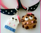 BFF Best Friends Milk and Cookies Ribbon Necklace Set
