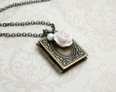 Old Rose Book Locket Necklace in Antiqued Brass