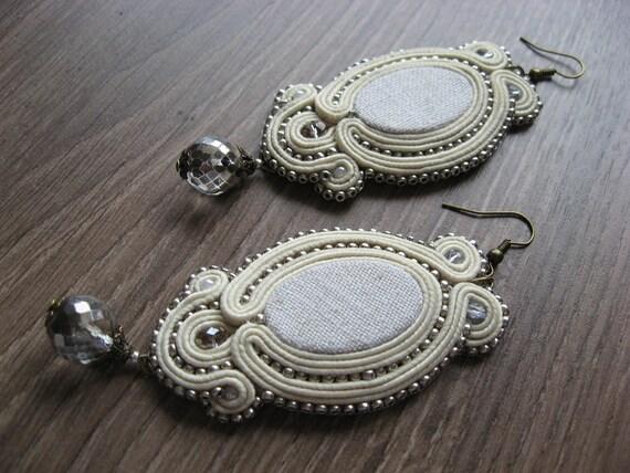 Ivory - Soutache Earrings