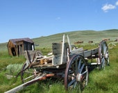 Ghost Town Wagon Fine Art Photo - photo Rusty abandoned Bodie, CA azure blue green brown red rust 8x8 8x10 8x12 11x14 16x20