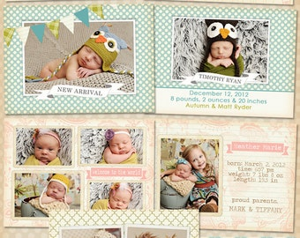 Birth Announcement Templates - INSTANT DOWNLOAD