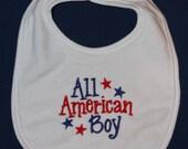 All American Boy embroidered bib