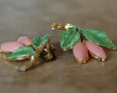 PINK POSIES - Bubble Gum Pink & Bright Green Clip EARRINGS