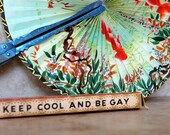 KEEP COOL Vintage Foldaway / Handheld Dual-Sided FAN - Goldfish. Underwater. Cherry Blossom.