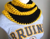 Crochet Black and Gold NHL, NFL Hockey, Football, Soccer, Boston Bruins, Pittsburgh Steelers Infinity Scarf, Men's Scarf, Unisex Scarf
