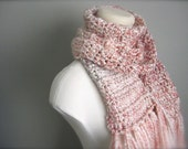 Crochet Pink, Peach, Cream, Winter White, Off White, White Classic Fringe Scarf, Women's Scarf, Men's Scarf, Unisex Scarf