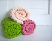 Crochet 100% Large Cotton Washcloths Dishcloths, Facecloths Set of 3, Pale Peach, Pink, and Lime Green