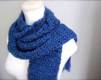 Crochet Deep Royal Blue, Light Navy Blue,  Hanukkah, Chanukah Blue Classic, Traditional Fringe Scarf, Women's Scarf, Men's Scarf
