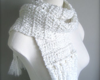 Crochet  Snow White, Bright White Classic Fringe Scarf, Women's Scarf, Men's Scarf, Unisex Scarf