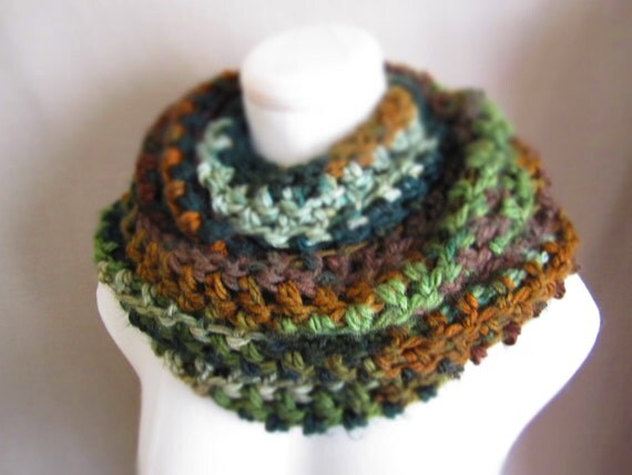 Crochet Earth Tones, Multicolor, Forest Green, Emerald Green, Brown, Teal, Grey Cowl Neck Scarf, Women's Scarf, Unisex Scarf
