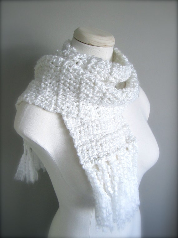 Crochet  Snow White, Bright White Classic Fringe Scarf, Women's Scarf, Men's Scarf, Unisex Scarf