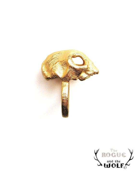 Gold Cat Skull Ring, skull ring, animal skull ring, rock goth ring, Valentine gift, skull jewelry jewellery, for the rock chic girl