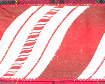 "Fancy Ribbon - 2 Pieces of Wired Ribbon, Candy Cane Pattern, 2 1/2"" Wide and 65"" Long, Red Stripe, 3"" Wide x 2 Yds Long, Holiday Ribbon"