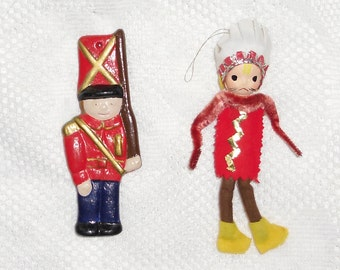 Vintage Christmas Ornaments - Plaster and Felt, Chenille, Paper Mache - Little Soldier and Indian