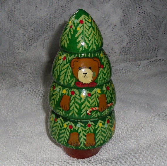 Vintage Christmas Ornaments / Four Wooden Nesting Trees with a Bear Hiding in Them
