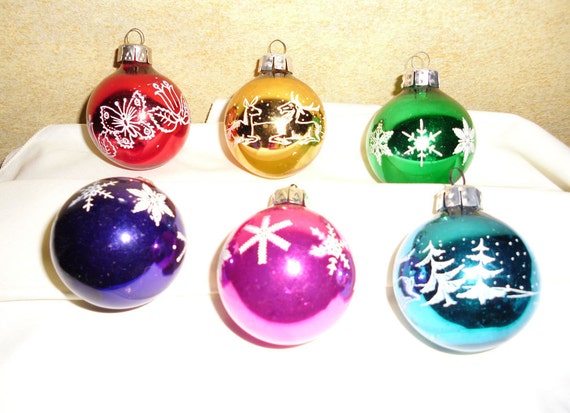 Vintage Christmas Glass Ornaments - Glass Balls - East Germany - Stencilled Ornaments - Christmas Decor