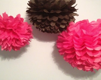 "3 Medium (12"") Tissue Paper Pom Poms - Birthday/Wedding/Baby Shower/Bridal Shower/Nursery"