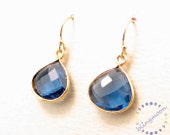 SALE:  London blue topaz earrings gemstone teardrop gold earrings