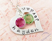 Heart washer necklace:  Sterling Silver HAND STAMPED Personalized Jewelry