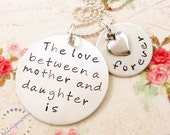 Hand Stamped Necklace, Mother & Daughter Jewelry, Personalized Jewelry, Mommy Necklace, Mother Daughter Charm, Mother Daughter Necklace
