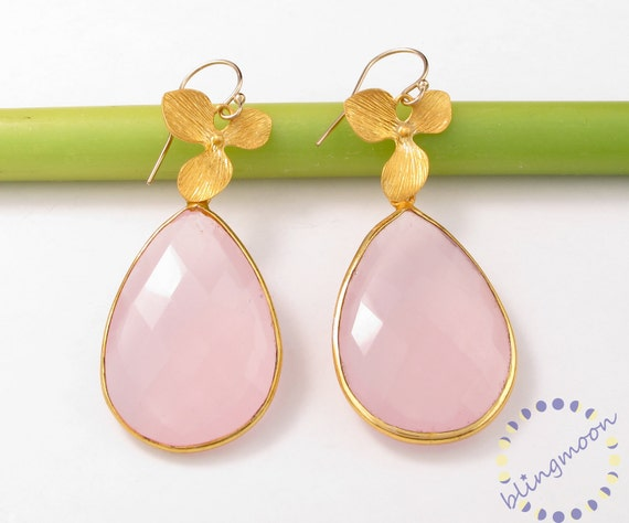 Pink Rose Quartz Earrings:  24k Gold Vermeil earrings bezel set gemstones SALE