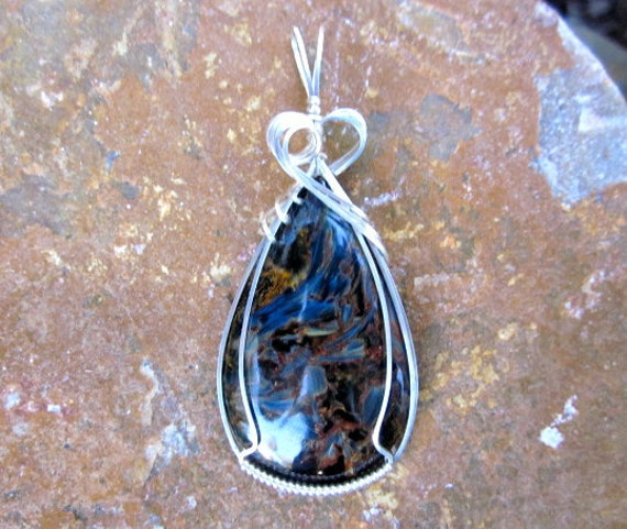 "RESERVED for Lisa Large ""Blue"" Pietersite ""Tempest"" Stone Argentium Sterling Silver Wire Wrapped Pendant"
