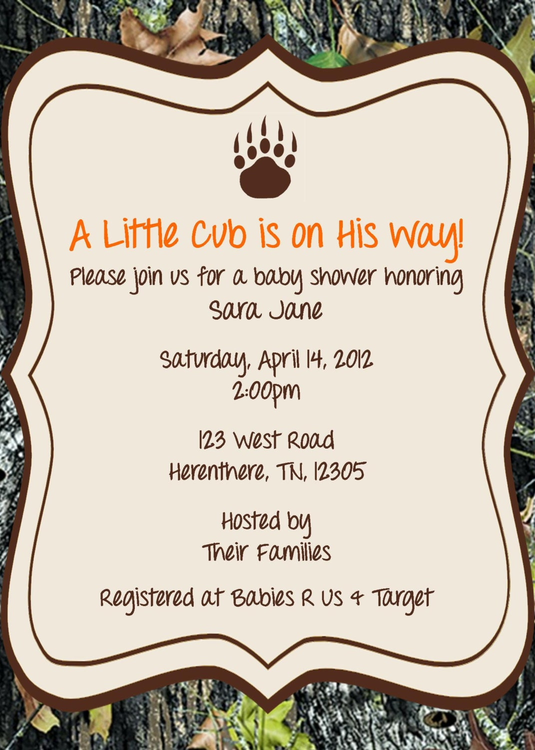 items similar to bear hunting baby shower invitation on etsy