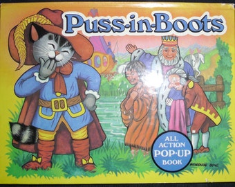 Vintage Childrens Book - Pop Up Book - Puss in Boots - Fairy Tale Story Book - Illustrated by V. Kubasta - Printed in Czechoslovakia 1985