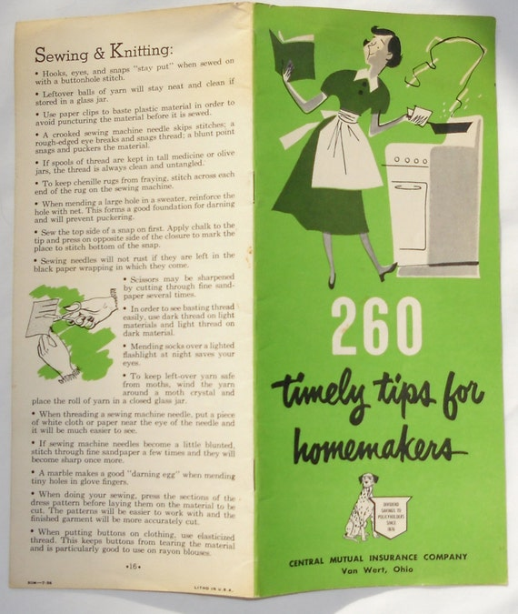 Advertising Booklet / 260 Timely Tips for Homemakers Central Mutual Insurance Company Van Wert, Ohio 50s